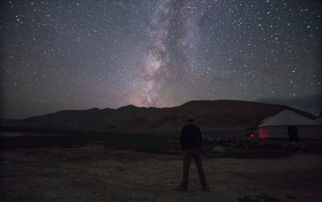 Galen looking at Milky way at Karakul Lake