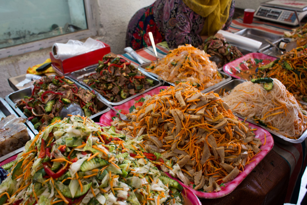Korean Salad - Stalin's brutal moving of all Koreans in his empire to Central Asia destroyed families and ways of life, but on the plus side, it means there is some delicious Korean salads available in Osh!
